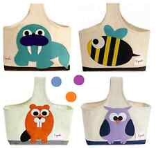NWT 3 Sprouts Storage Caddies-Owl, Beaver, Bee, Mouse & Walrus