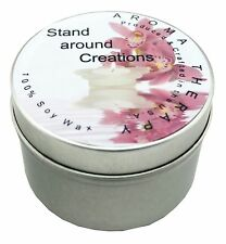 All Natural Soy Candle Tins 8oz with Essential & Natural Oils - Choose Scent