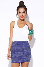 Navy Blue Woven Metallic Silver Bandage Club Mini Skirt