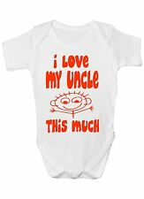 I Love My Uncle This Much Funny Babygrow Babies Gift Boy/Girl Vest Babies
