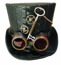Steampunk Leatherlook Tophat with handmade goggles ,key and cogs