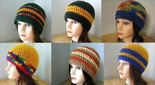 Blue GREEN Gold BROWN Tan ORANGE Yellow RED Crochet BEANIE Ski HATs Knit UNISEX