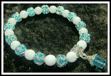 8mm WHITE GLASS BEADED STRETCH BRACELET ~ SILVER ~ GOLD ~ SPACERS ~ CHARMS