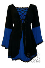 Plus Size Black and Blue Medieval Princess Bell Sleeve Corset Top 1X 2X 3X 4X 5X