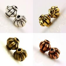 60Pcs Tibetan Silver/Gold Tone/Copper/Bronze Striped 4mm Spacer Beads Findings