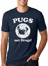 Pugs Not Drugs T-Shirt - Funny Dog Shirt For Animal Lovers (Navy)