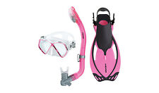 Head Pirate Kids Mask Dry Snorkel Fins Set Scuba Diving Snorkeling Pink