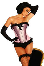 Pink Boned Lace Up Corset with G-string