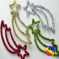 "15"" CHRISTMAS TINSEL SHOOTING STAR DECORATION 8 COLOURS"
