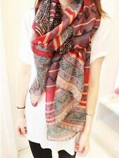 New Retro Women Lady Bohemian Voile Soft Silk Scarf Large Beach Shawl Scarves