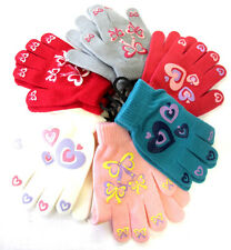GIRLS MAGIC GLOVES WITH BOW AND HEART PRINT GRIP ONE SIZE GL108