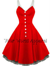 H&R LONDON RED WITH WHITE STRAPS PINUP SWING 1950's HOUSEWIFE DRESS VINTAGE