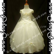 #PF01 Flower Girl/Holiday/Communions/Party/Formal Gown Dresses Ivory 3-14 Years
