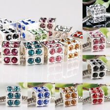 Wholesale Crystal Rhinestone Cube Cubic Loose Beads Fit European Charms Bracelet