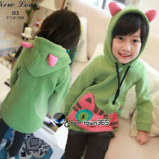 Warm Soft Green Cat Kids Toddlers Child Girls Princess Cosplay Coat Hoodie 2-7Y