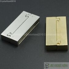 Strong Magnetic Rectangular Clasps Pewter Gold Plated Bracelet or Necklace Pick