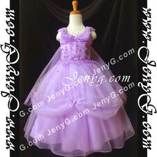 #PF11 Flower Girl/Wedding/Formal/Holiday/Party/Ball Gown Dress Purple 3-14 Years
