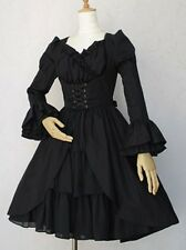 J566 BLACK DRESS GOTHIC LOLITA PUNK COSPLAY Tiered Layered COTTON LONG SLEEVES