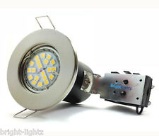 FIRE RATED DOWNLIGHTS BRUSHED CHROME + GU10 4W LED BULBS DAY WHITE SPOTLIGHTS UK