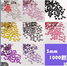 1000 Crystal Flat Back Acrylic Rhinestones Gems Bead Craft 2-5 mm 23 Colors