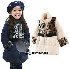 Winter Warm Leopard Kids Toddlers Girls Child Baby Princess Coat Jackets 2-7Y