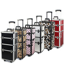 Cosmacase 2in1 Pro 2 Wheel Rolling Aluminum Lockable Makeup CosmeticTrain Case