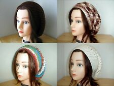 << BROWN Cream BLUE White SAGE Rust HANDMADE Crochet SLOUCHY Beret Tam HATs Knit