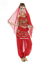New Women Sexy Sequined Bead Belly Dancing Costume Set Adult Indian Dance Dress