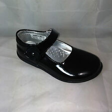infant GIRLS PATENT BLACK SCHOOL SHOES,VELCRO STRAP PARTY wedding SMART FORMAL