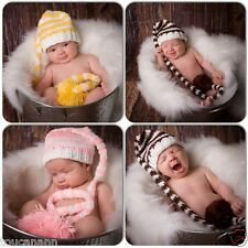 """CROCHET BABY 14"""" OR 16"""" LONGTAIL ELF HAT ~ BROWN YELLOW PINK LONG TAIL HAT"""
