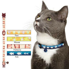 MOUSIN AROUND CAT COLLARS - Fish Pawprint Fishbones Mice Bell Breakaway Buckle