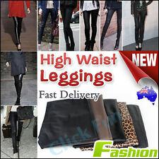Women Leather Look High Waist Stretch Leggings Lady Tight Pants Sexy Size 6-14