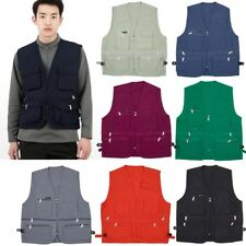 Mens Sleeveless Utility Multi Pocket Zip Hunting Fishing Shooting Leisure Vest
