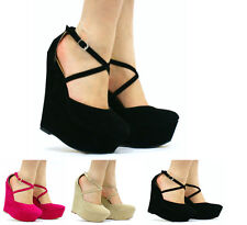 NEW WOMENS CROSS ANKLE STRAP SUEDE HIGH WEDGE PLATFORM SHOES PARTY FASHION