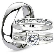3 pc TITANIUM Mens & Womens Engagement Wedding Bridal Band Rings Set CZ HIS HER