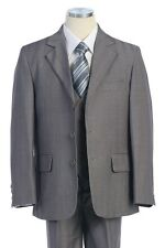 Boy's Gray Wedding Ring Bearer Three Piece Suit