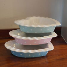 Gisela Graham Pastel Heart Ramekin dishes Pink Blue Green country cottage chic