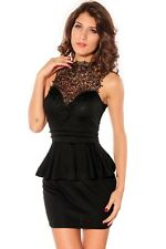 Women's Black Figure Hugging Dress with Hollow Back and Lace Neckline