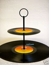 Record Cupcake Stand 2 Tier Vinyl Retro Rockabilly Rock n Roll Cake 50s 60s 70s