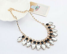New Design Lady Bib Statement Acrylic chains Black white necklaces Collar Hot