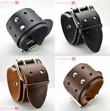 New Wide Belt Buckle Fashion Men Leather Bracelet Wristband Bangle Gothic Punk