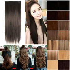 Attractive woman style long one piece 5 clips in hair extension black#blonde#red