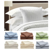 Deluxe Hotel , 300 Thread Count 100% Cotton Sateen Sheet Set Dobby Stripe