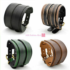 New Punk Wide Leather Belt Bracelet Wristband Cuff Bangle Man Woman Cool Rocker