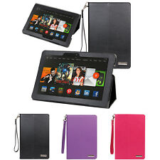 """Leather Folio Stand Cover Case For Amazon Fire HDX / Kindle Fire HDX 8.9"""" Tablet"""