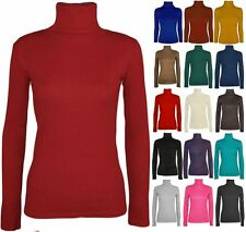 NEW LADIES LONG SLEEVE TURTLE POLO NECK TOP WOMENS TOP JUMPER 8-26