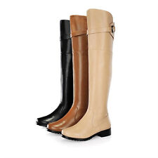 Womens Chic Genuine Leather Buckle Strap Cuban Over Knee Riding Boots Plus Size