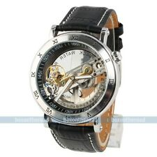 Steampunk Transparent Skeleton Mens Golden Automatic Mechanical Wrist Watch Gift