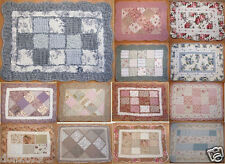 Vintage Country Floral Patchwork Embroidered Quilted Cotton Bedroom Bath Mat Rug