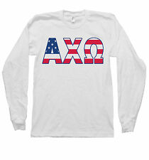 Alpha Chi Omega AMERICAN APPAREL Long Sleeve T Shirt AXO USA Letters ALL SIZES